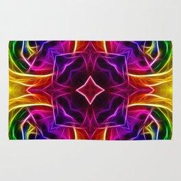 Rainbow Rose Kaleidoscope Mandala Rug