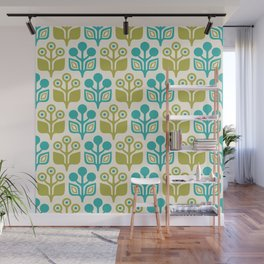 Mid Century Garden Flower Pattern Turquoise Chartreuse Wall Mural