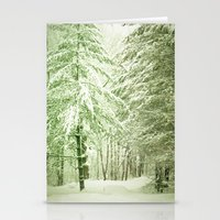 narnia Stationery Cards featuring Winter Pine Trees by Olivia Joy StClaire