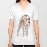 creepy V-neck T-shirts featuring Creepy Chan by Helen Green