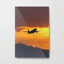 Airliner Sunset Takeoff Metal Print