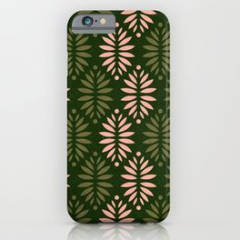 Evergreen pinecones pattern - dusty rose & green palette  iPhone Case