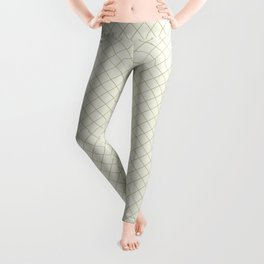 Earthy Green on Cream Parable to 2020 Color of the Year Back to Nature Angled Grid Pattern Leggings