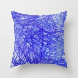 Ophelia Blue Scribble Throw Pillow