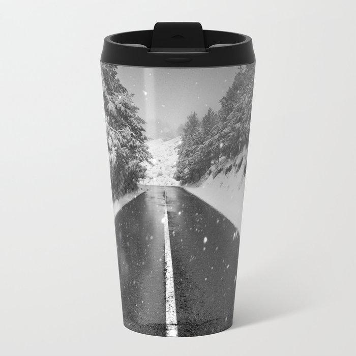 """The road"". Bw Travel Mug"