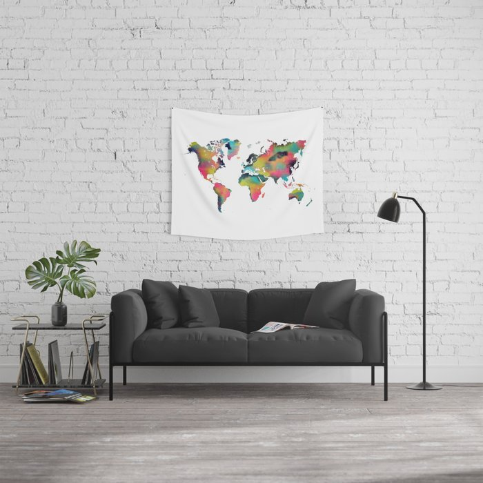world map 3 Wall Tapestry