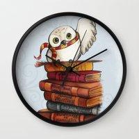 hedwig Wall Clocks featuring Hedwig by Sam Skyler