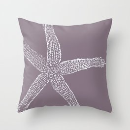 Starfish- white on plum Throw Pillow