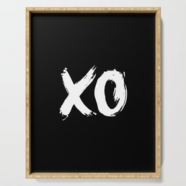 XO Hugs and Kisses white and black gift for her girlfriend xoxo bedroom art and home room wall decor Serving Tray