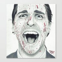 american psycho Canvas Prints featuring American Psycho by TYP Portraits