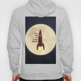 Fly me to the moon, on dark background Hoody
