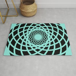 Circle rectangles round pattern Design turquoise Rug