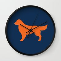golden retriever Wall Clocks featuring Golden Retriever by Erin Rea