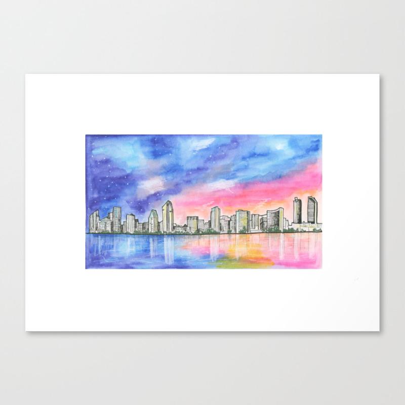 San Diego Skyline - San Diego - San Diego, Califor… Canvas Print by Junepoppiesdesigns CNV8556050