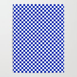 Small Cobalt Blue and White Checkerboard Pattern Poster