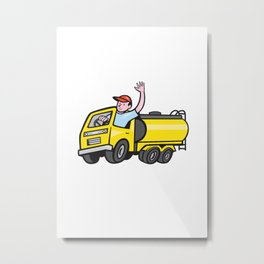 Tanker Truck Driver Waving Cartoon Metal Print