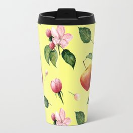 Watercolor pattern: Apple, apple blossom ang leaves Travel Mug