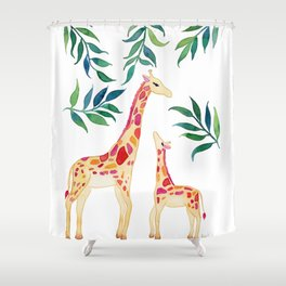 Watercolor Giraffe Mother and Child Shower Curtain
