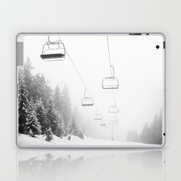 Snow Lift // Ski Chair Lift Colorado Mountains Black and White Snowboarding Vibes Photography Art Print Laptop & iPad Skin