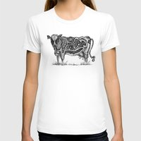 cow T-shirts featuring Cow by Rebexi