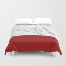 White Marble Red Hot Striped Duvet Cover
