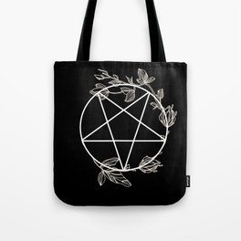 Pentagram with Plant Adornments - on black Tote Bag