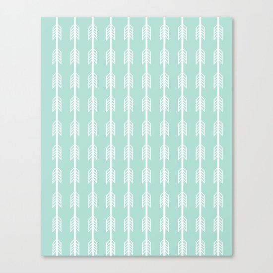 Isabella - minimal arrows mint and white modern dorm college nursery kids art Canvas Print