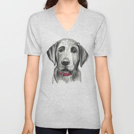 Black Lab Puppy Drawing Unisex V-Neck