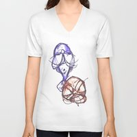ying yang V-neck T-shirts featuring Ying & Yang by Nerve