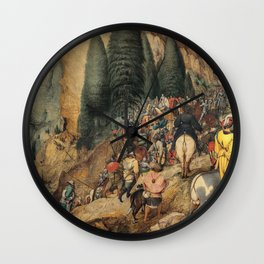 Renaissance Italy - people on a mountain path vintage painting Wall Clock