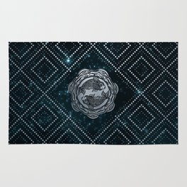 Pisces Zodiac Silver Embossed on the Star sky Rug