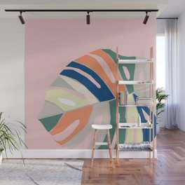 monstera plant leaf paper collage mid century modern Wall Mural