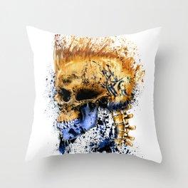 Golden Skull Throw Pillow