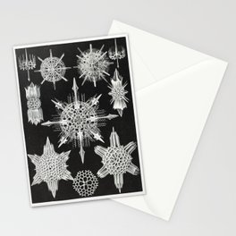 Black and white Marine creatures illustration by Ernst Haeckel Stationery Cards