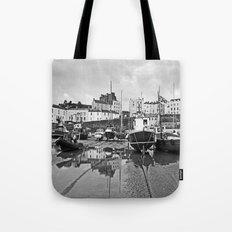 Tenby Harbour Boats.Pembrokeshire.B+W. Tote Bag