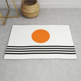 Orange Zen Sunset Minimalist Art Black Stripes Simple Art Rug