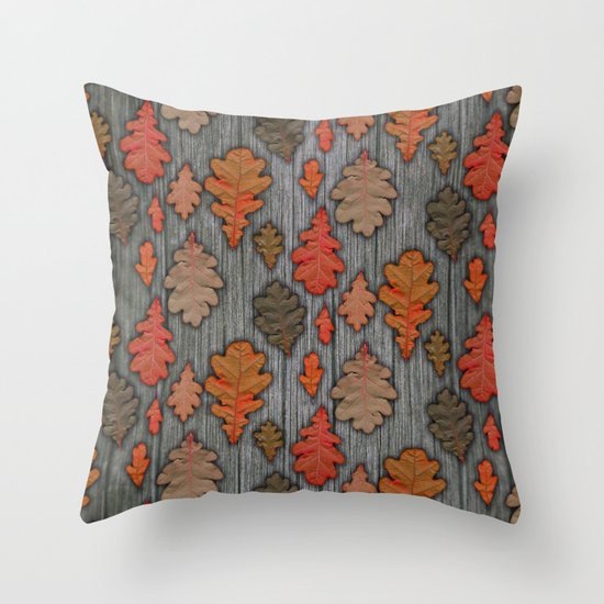 Patterns of Nature - Autumn Oak Leaves Throw Pillow