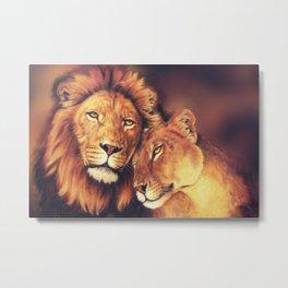 Lions Soulmates Metal Print