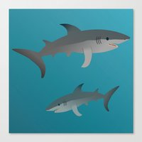 sharks Canvas Prints featuring Sharks by Bwiselizzy