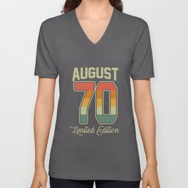 Vintage 50th Birthday August 1970 Sports Gift Unisex V-Neck