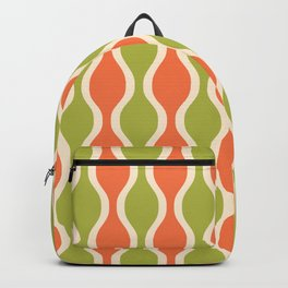 Classic Retro Ogee Pattern 852 Orange and Olive Backpack