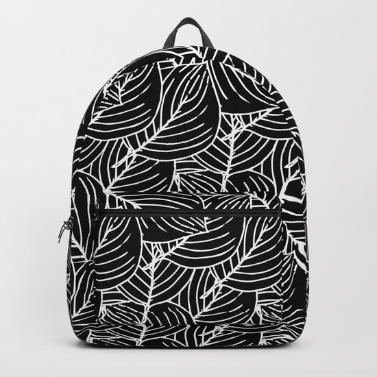 Simple Leaves Pattern- White on Black -Mix & Match with Simplicity of life Backpack