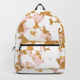 White Marble With Touch of Pink & Gold Veins Backpack