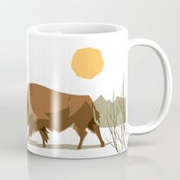 bison Mugs featuring Bison by Emre Özbay