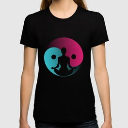 Young girl practice yoga at front of Yin-Yang sign T-shirt