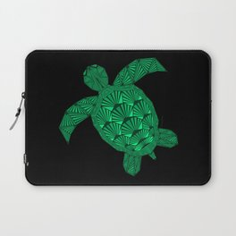 Art Deco Turtle on Black Laptop Sleeve