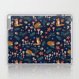 Fox and Hedgehog in Toadstool Woods In Blue Laptop & iPad Skin