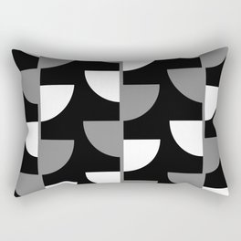 Climbing High - Grey and White on Black - Slices series Rectangular Pillow