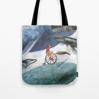 whales Tote Bags featuring Whales by Judith Chamizo