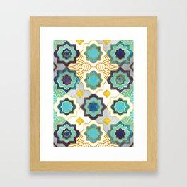 Marrakesh gold and blue geometry inspiration Framed Art Print